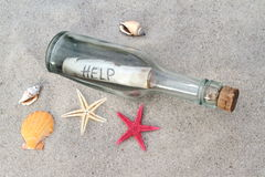 Message in a glass bottle on sand. Message in a glass bottle on beach sand royalty free stock photography