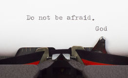 Message from God. Do not be afraid written on old typewriter Royalty Free Stock Photos