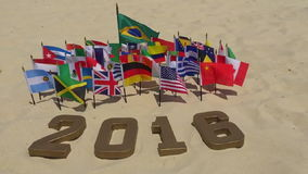 2016 Message in Gold Numbers International Flags Rio de Janeiro stock video