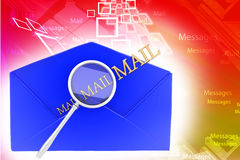 Message with golden mail text and magnifier Illustration Stock Image