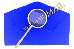 Message with golden mail text and magnifier Stock Photo