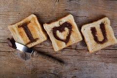 Message grillé d'amour Images stock