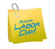 Message happy labor day written on a post. Illustration design over white Stock Images