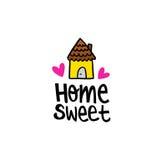 Message heureux à la maison doux à la maison Images stock