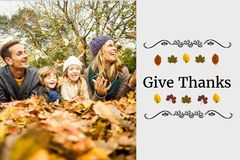 Message heureux de famille et de thanksgiving photo libre de droits
