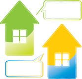 Message home. Message bubbles and colored houses Royalty Free Stock Image