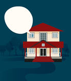 Message home. A house with trees and a blue backdrop vector illustration