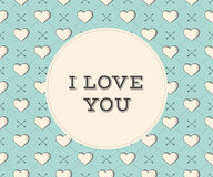 Message I Love You in circle on a seamless pattern with heart and arrows in vintage style engraving for Valentine's Day. Royalty Free Stock Photography