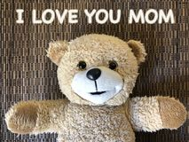 The message that I LOVE YOU MOM by cute teddy bear Royalty Free Stock Photos