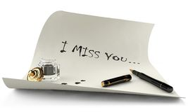 Message I miss you on a white sheet Royalty Free Stock Photos