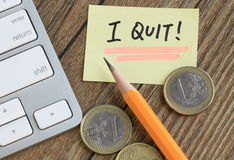 Message of I quit Royalty Free Stock Photography