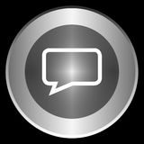 Message icon on a circle isolated on a black background Royalty Free Stock Photography