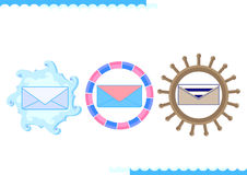 Message Icon in marine design. Emblem. Mail, letter. Internet. Vector illustration. Abstract pattern Royalty Free Stock Images