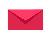 Message Icon. Red or Pink Communication Letter SMS Stock Photos