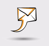 Message icon transformed in speech bubble. Pop art style sign. Mail, post letter, delivery service or e-mail  concept. Royalty Free Stock Images