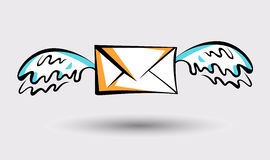 Message icon with wings. Pop art style sign. Air mail, post letter, delivery service or e-mail  concept Royalty Free Stock Photo
