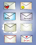 Message icons. Colorful vector message icons in hand-drawn style Royalty Free Stock Images