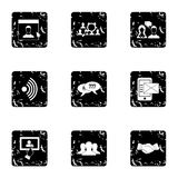 Message icons set, grunge style Royalty Free Stock Images