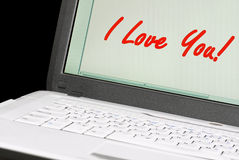 Message on a laptop. Royalty Free Stock Images