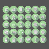 Message. letter. play. Wi-Fi. location. smile. planet. a heart. Set of vector illustrations icons. message. letter. play. Wi-Fi. location. smile. planet. a Stock Photos