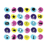 Message. letter. play. Wi-Fi. location. smile. planet. a heart. Set of vector illustrations icons. message. letter. play. Wi-Fi. location. smile. planet. a Stock Photography