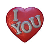 Message Love You on the Heart Shaped Red Balloon. 3D. Message Love You on the Heart Shaped Red Balloon. Romantic concept. 3D rendering Royalty Free Stock Photos