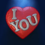Message Love You on the Heart Shaped Red Balloon. 3D. Message Love You on the Heart Shaped Red Balloon. Romantic concept. 3D rendering Stock Photo