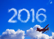 2016 message made of clouds. 2016 message in the sky Royalty Free Stock Photos