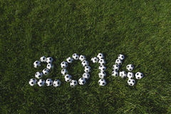 Message for 2014 Made with Football Soccer Balls Stock Photography