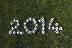 Message for 2014 Made with Football Soccer Balls Stock Photo