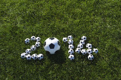 Message for 2014 Made with Football Soccer Balls Royalty Free Stock Photo