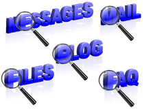 Message mail blog files faq search. Messages mail blog files faq search magnifying glass enlarging part of blue 3D word Stock Images
