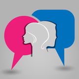 Message male female face Stock Photos