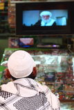 Message musulman sur les chaînes de télévision arabes photographie stock