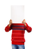 Message from my mind. Man in red pullover shows presentation hiding his face isolated on white background Stock Photos