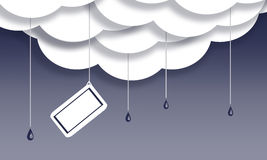 Message note in rain clouds Royalty Free Stock Photos
