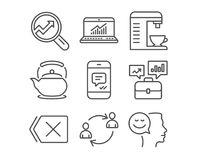 Message, Online statistics and Business portfolio icons. User communication, Coffee machine and Remove signs. Set of Message, Online statistics and Business Stock Photography