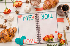 Message on pages of notebook on Valentine`s Day stock images