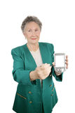 Message on PDA. A senior businesswoman holding a PDA toward the camera.  PDA is blank and ready for your message or image Stock Photo