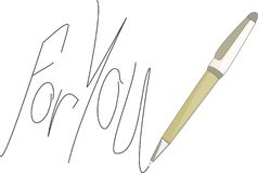 Message pens - for you. Message pens in the manuscript - for you, promotional message on paper with pens Stock Photo