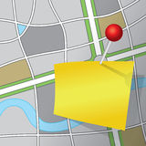 Message Pinned to a Road Map Illustration Stock Image