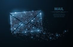 Message. Polygonal wireframe mesh with dots and stars. Mail, Letter, email or other concept illustration or background Stock Photography