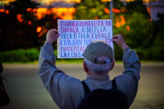 Message at protest, Bucharest, Romania Stock Images
