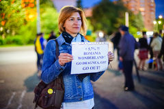 Message from protester, Bucharest, Romania Royalty Free Stock Images