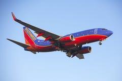 Message publicitaire Jet Airplane de Southwest Airlines 737 Image stock