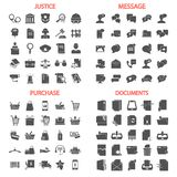 Message related. Law and Justice. Online purchase. Documents management simple icons set stock image