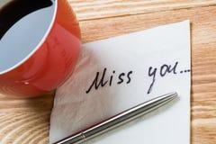 Message romantique écrit sur la serviette Photographie stock