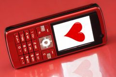 Message rouge de coeur Photographie stock