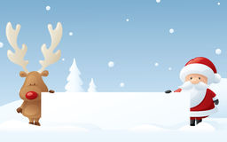 Message from Rudolph and Santa Royalty Free Stock Photos