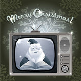 Message from Santa. Illustration with Santa Claus who reads fairy tales and speaks  in Christmas  show drawn in retro style Royalty Free Stock Photo